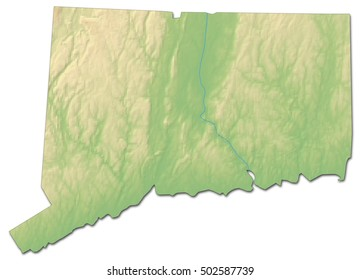 Relief map - Connecticut (United States) - 3D-Rendering