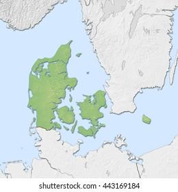 Relief map of Danmark - 3D-Illustration