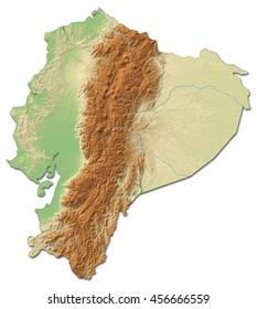 Relief map of Ecuador - 3D-Rendering