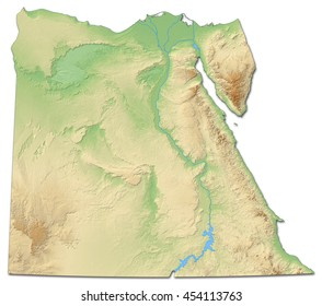 Relief map of Egypt - 3D-Rendering