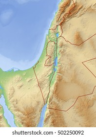 Relief Map of Israel - 3D-Rendering