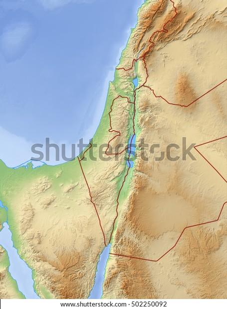 Relief Kort Over Israel 3d Rendering Lagerillustration 502250092