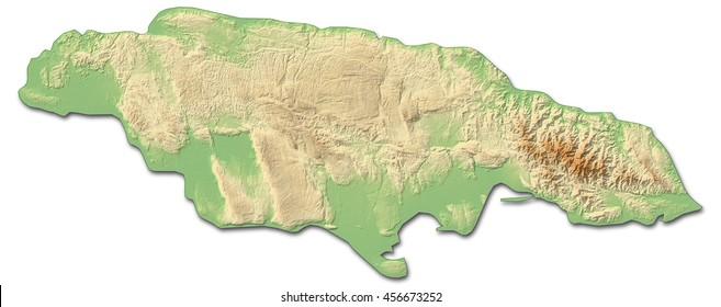 Relief map of Jamaica - 3D-Rendering