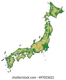 Relief map - Japan - 3D-Rendering
