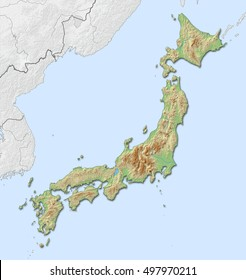 Relief map - Japan - 3D-Rendering