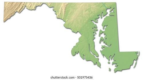 Relief map - Maryland (United States) - 3D-Rendering