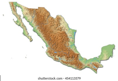 Relief map of Mexico - 3D-Rendering