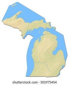 Relief map - Michigan (United States) - 3D-Rendering