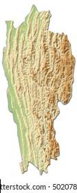 Relief map - Mizoram (India) - 3D-Rendering