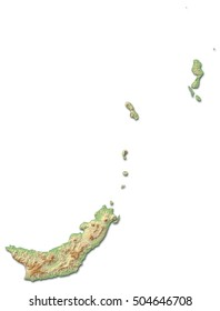Relief map - North Sulawesi (Indonesia) - 3D-Rendering