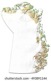Relief map - Northeast Greenland National Park (Greenland) - 3D-Rendering