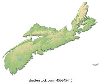 Relief map - Nova Scotia (Canada) - 3D-Rendering