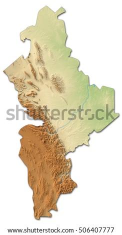 Relief Map Nuevo Leon Mexico 3 D Rendering Stock Illustration