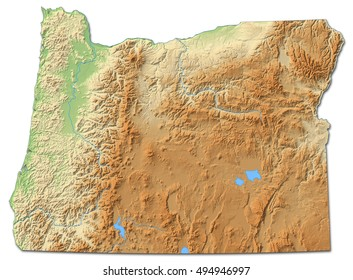 Relief map - Oregon (United States) - 3D-Rendering
