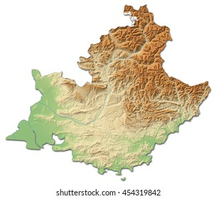 Relief map - Provence-Alpes-Cote d'Azur (France) - 3D-Rendering