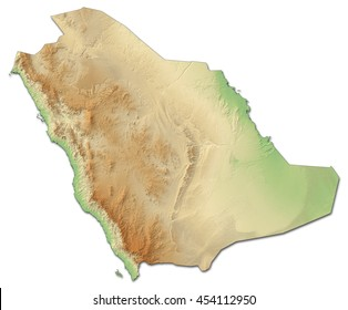 Relief map of Saudi Arabia - 3D-Rendering