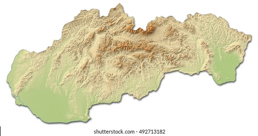 Relief map of Slovakia - 3D-Rendering