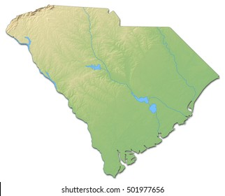 Relief map - South Carolina (United States) - 3D-Rendering
