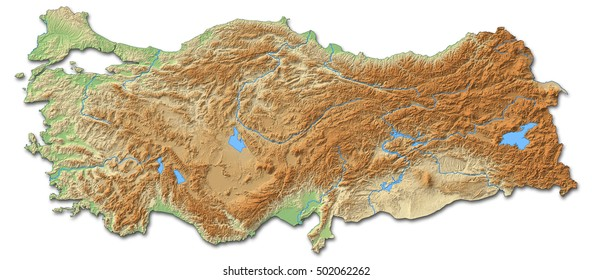 Relief map - Turkey - 3D-Rendering