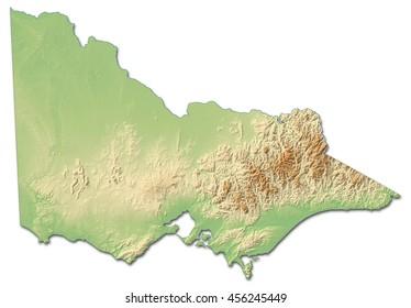 Relief map - Victoria (Australia) - 3D-Rendering