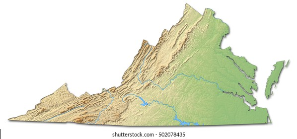 Relief map - Virginia (United States) - 3D-Rendering