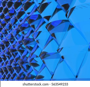 Relief wall of blue glass cones. Endless crystal surface with reflections and visual distortions. Abstract modern architecture. Rendering of 3d geometric model. Perspective view.