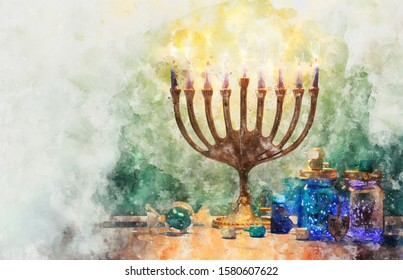 religiob watercolor style and abstract image of jewish holiday Hanukkah with menorah (traditional candelabra)