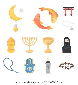 Religion and belief cartoon icons in set collection for design. Accessories, prayer bitmap symbol stock web illustration.
