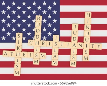 Religion Diversity In The USA Concept: Letter Tiles Creating The Words Christianity, Islam, Judaism, Buddhism, Hinduism, Sikhism, Atheism with US flag, 3d illustration