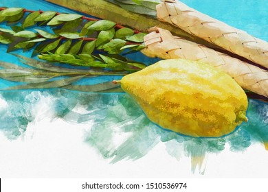 religion image of Jewish festival of Sukkot. Traditional symbols (The four species): Etrog, lulav, hadas, arava