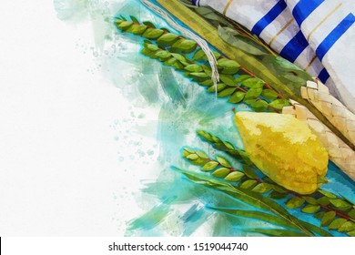 religion image of Jewish festival of Sukkot. Traditional symbols (The four species): Etrog, lulav, hadas, arava