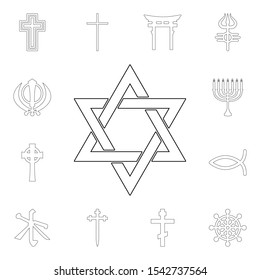religion symbol, judaism outline icon. element of religion symbol illustration. signs and symbols icon can be used for web, logo, mobile app, ui, ux