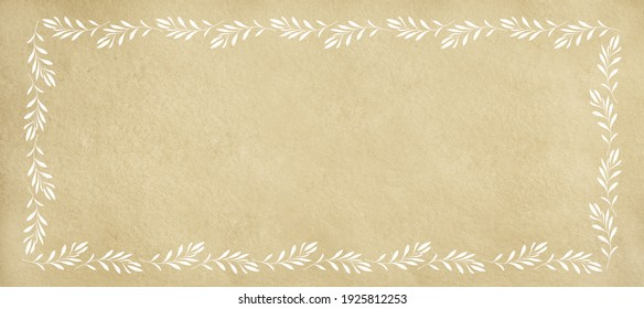 Religious card illustration with textured beige background with frame of white olive twigs