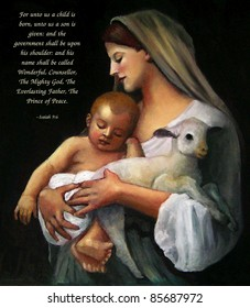Religious Christmas: After Bouguereau, Isaiah Text