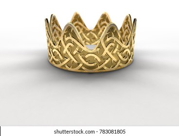 A religious crucifixion concept of a golden royal crown with a stylized woven thorn pattern etched into its surface on an isolated white studio background - 3D render