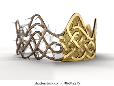 A religious crucifixion concept of a split between a golden crown and a woven thorn crown on an isolated black studio background - 3D render