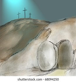 religious Easter resurrection scene with three crosses in the background symbolizing Good Friday crucifixion and empty tomb with rolled away stone for Easter Sunday