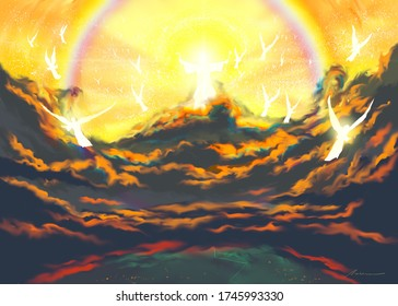 Religious illustration depicting the Second Coming of Jesus Christ with His angels, and described in the New Testament Matthew chapter 24 and Revelation of the Bible