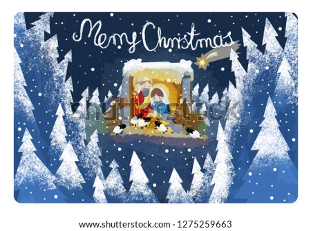Religious Illustration Three Kings Holy Family Stock Illustration