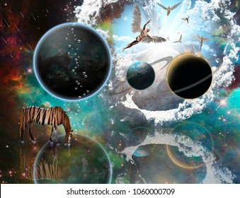 Religious planetary surrealism. Angels comes from another dimension. Exo planets. Striped horse. 3D rendering