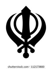 Religious Sikh Khanda sign isolated on a white background.