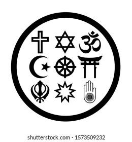 Religious symbols in a circle