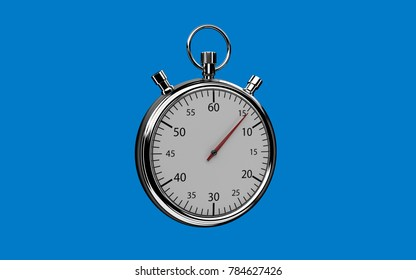 Relistic 3d chrome stopwatch on blue background. Easy background extract