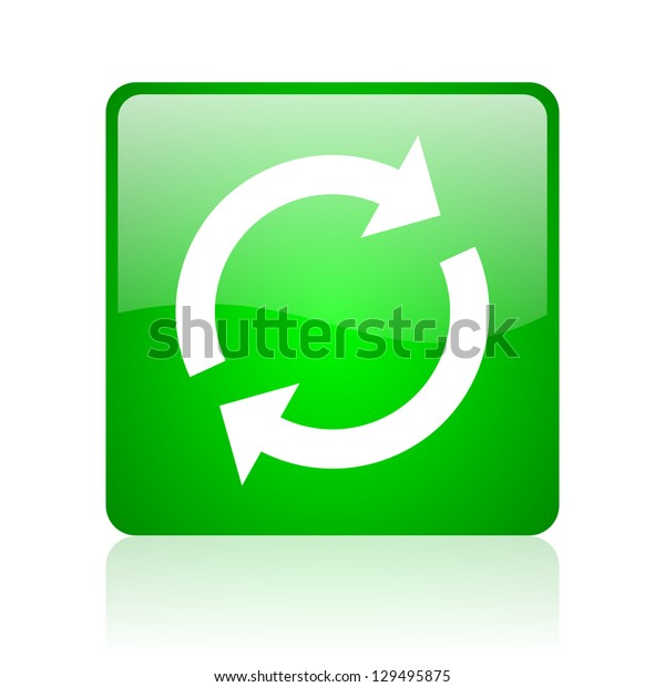 reload green square web icon on white background