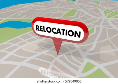 Relocation Moving Map Pin Word New Home Business 3d Illustration