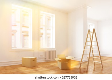 Relocation to a new bright apartment with sunlight (3D Rendering)