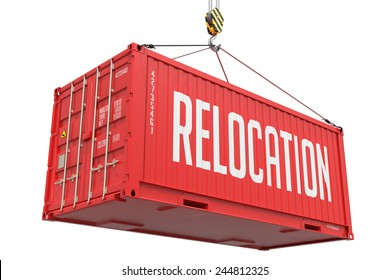 Relocation - Red  Cargo Container hoisted by hook, Isolated on White Background.