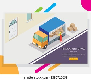 Relocation service web banner design template. isometric truck and worker unloading cardboard boxes. Concept of moving or relocation.