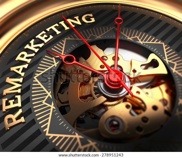 Remarketing on Black-Golden Watch Face with Watch Mechanism. Full Frame Closeup.
