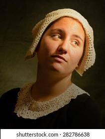 Rembrandt style portrait. Oil painting imitation texture